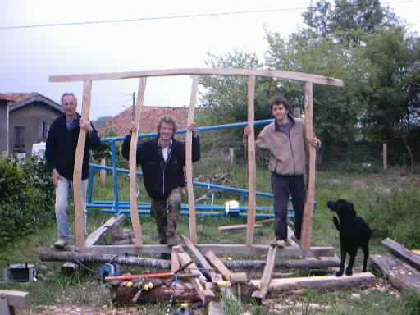 Pierre, François and Ben  with our construction after the weekend.